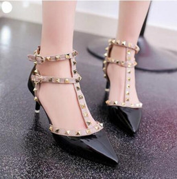 Wholesale types heels sandals - 2018 summer new fashion women's high-heeled shoes pointed sandals rivets sexy T-type buckle was thin with women's shoes