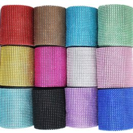 Wholesale tulle yard wholesale - Diamond Wrap Cake Roll 10 Yard Electroplate Crystal Ribbons Rhinestone Mesh Tulle Bling Wedding Christmas DIY Decorations For Home 14ms YY