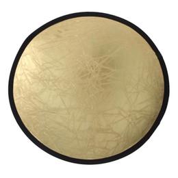 disque pliable Promotion 60cm / 80cm / 110cm 2-en-1 Photographie Réflecteur Studio Light Mulit Disque pliable Disque rond Lumière Réflecteur Argent / Or