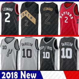 Wholesale embroidery basketball jersey - 2018 New 2 Kawhi Leonard The City Jersey Black 10 Demar DeRozan Red gREY Basketball Jerseys 2018-2019 Embroidery Logos 100% Stitched