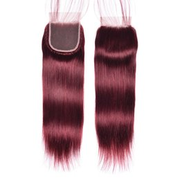Дешевые бордовые волосы онлайн-99j бразильский прямой кружева закрытие с волосами ребенка дешевые Бургундия прямые девственные человеческие волосы топ закрытие свободный средний 3-полосная часть
