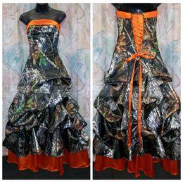 Laranja linha vestido de casamento on-line-2018 barato strapless a linha de vestidos de noiva camo drapeado orange lace up voltar vestidos de noiva custom plus size real da árvore longa camuflagem formal