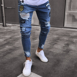 Wholesale Blue Denim Skinny Jeans - 2018 Fashion Mens Skinny Jeans Ripped Slim fit Stretch Denim Distress Frayed Jeans Boys Embroidered Patterns Pencil Trousers