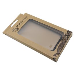 Pantalla de plástico online-180 unids / lote DHL caja del paquete de la pantalla del teléfono móvil W / Plastic ventana Kraft papel teléfono Shell Hang Hole paquete Case para iPhone 7
