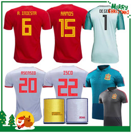 Wholesale Uniform Yellow - 2018 Spain world cup Jersey home Away Soccer Jersey Spain home soccer shirt 2019 women ASENSIO MORATA ISCO A.INIESTA Football uniforms sales