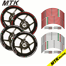 Wholesale rims decals - MTKRACING Motorcycle FIT APRILIA SHIVER 750 17'' 12 X Thick Edge Outer Rim Sticker Stripe Wheel Decals