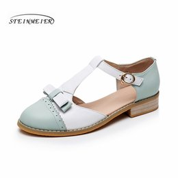 Wholesale Oxford Sandals Shoes - Genuine cow Leather flats Sandals handmade vintage British style oxford shoes for women sandals spring summer big US size 10