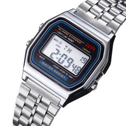 Canada Les montres d'acier inoxydable de Digitals ont mené la montre-bracelet ultra-mince F91W lumineuse de sports de mode des hommes cheap thin watches men Offre