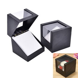 Wholesale Leatherette Jewelry Boxes - Fashion Wrist Watch Box Black Color Jewelry Bangle Bracelet Earrings Display Storage Holder Case Gift
