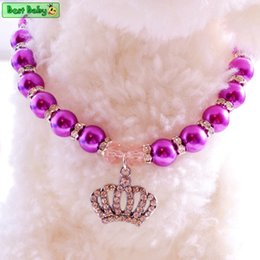 Wholesale Cat Poodle - Puppy Pet Necklace For Dogs Rhinestone Crown Heart Chihuahua Poodle Cat Puppies Breed Small Animals Jewelry Grooming Accessories