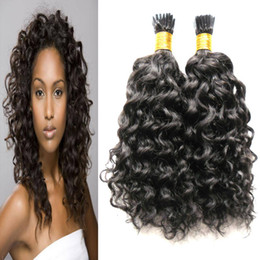 Wholesale keratin fusion bonded hair extensions - Natural Color Kinky Curly Keratin Human Fusion Hair Nail I Tip Machine Made Remy Pre Bonded Hair Extension 100g strands