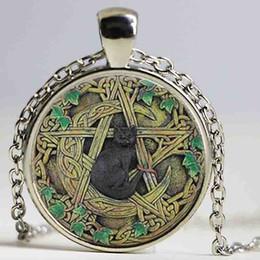 Deutschland Großhandel Glaskuppel Anhänger schwarz Wicca Anhänger Halskette Pentagramm Wicca Schmuck Charm Halskette Geschenke für Männer und Frauen Versorgung