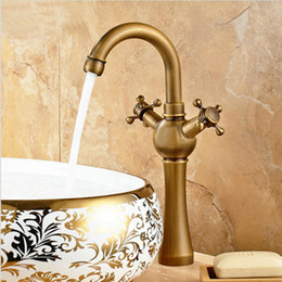Wholesale Waterfall Bathroom Vessel Sink Faucet - Tall Waterfall Spout Bathroom Vessel Sink Faucet Single Lever Countertop Mixer Tap Antique Brass