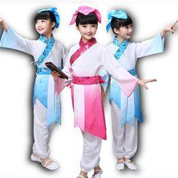 vêtements fille chinoise Promotion Enfants folklorique Effectuer Costume Classique Chinois Hanfu Ancienne Littérature Chinoise Style Costume de couvent Garçons Filles Vêtements de scène