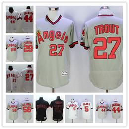 Erkekler Beyzbol Formalar 27 Mike Alabalık 29 Çubuk Carew 44 Reggie Jackson 56 Kole Calhoun renk kırmızı beyaz gri siyah formalar En kaliteli nereden