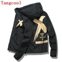 Wholesale young wind - 2018 spring and summer thin style fashionable hip hop wind letter X printed Hooded Jacket slim men's young couple hooded jacket