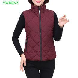 Wholesale Womens Down Vest L - Middle-aged women Short Vest Autumn Winter Thicken Down Cotton Vests Coat Womens Plus size Army Green Cotton Vests Tops 4XL A544