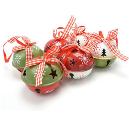 Wholesale Merry Christmas Ribbon - Christmas decoration for home 6pcs red green white metal jingle bell with ribbon merry Christmas tree decoration 50mm xmas