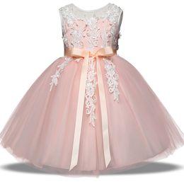 Wholesale Halloween Boutique Bows - Baby flower dress TUTU Bow Princess dresses 2018 new fashion Kids Clothing Boutique girls Ball Gown 6 colors C3437