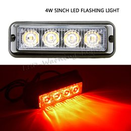 Wholesale Red Blue Beacon Lights - free shipping 10pcs 4.5inch 4W LED strobe beacon warning light for offroad trucks trailer vehicles equipments farm agriculture equipment