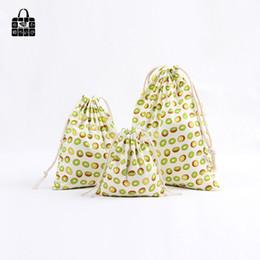 Wholesale Rolling Shoes - 1 pcs Cute Kiwi fruit cotton linen dust cloth bag Clothes socks underwear shoes receive bag home Sundry kids toy storage bags