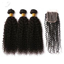 Wholesale Jerry Wave 14 Inch - 9A Jerry Curl Bundles With Closure Brazilian Hair Weave Bundles Human Hair Bundles With Clouser Remy Hair 4PCS  Lot