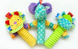Wholesale Toy Hippo Gifts - Baby Toys Soft Animal Handbell Rattles Lion Elephant Hippo Musical Development Early Educational Toys Birthday Gift