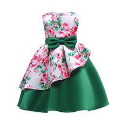 Wholesale Bebe Summer Dresses - New Summer 2018 Princess Girls Infant Sleeveless Cotton Bowknot Asymmetrical Dress Kids Vestido Bebe Flower Baby Dresses For Birthday Party