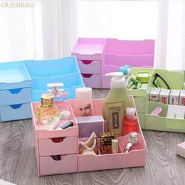 Wholesale Desktop Drawers - Wholesale-Drawer Type Cosmetics Desktop Storage Box Open Type High-capacity Plastic Sundries Container Dresser Makeup Organizer