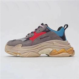 Wholesale Leather Nylon Heels - Newest Box Unveils New Triple S Casual Shoe Man Woman Sneaker High Quality Mixed Colors Thick Heel Grandpa Trainer Shoes Double Box