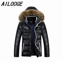 Wholesale Detachable Raccoon Collar - 2016 Winter Jacket Men Duck Down Jacket Men Thick Hood Natural Pure Raccoon Fur Collar Parkas Windproof Coat Plus Size 3XL