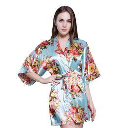 New Light blue Women s Print Flower Robe Gown Sexy Nightgown Bathrobe Short  Vintage Kimono Wedding Robe Nightgown Dressing Gown 9e9afd063