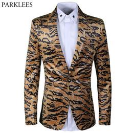 Wholesale Leopard Print Prom - Leopard Print Men Blazer Masculino 2018 Luxury Brand Mens Velvet Blazers Prom Party Wedding Tuxedo Performance Clothing Men Suit
