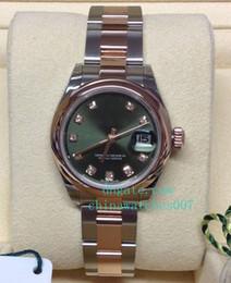 relojes de lujo de color Rebajas Venta caliente de alta calidad 26 mm 31 mm Señora 279161 Bi / Color Olive Diamond Dial 2018 de lujo de acero inoxidable automático de las señoras relojes