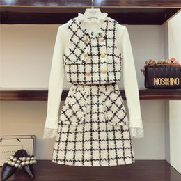 ladies white pant suit women Promo Codes - 2018 Gentle Wind 3 Piece Set Autumn Woman Lace Patch Knitted Shirt + Tweed Waistcoat + A - Shaped Skirt Ladies Mini Skirts Suit