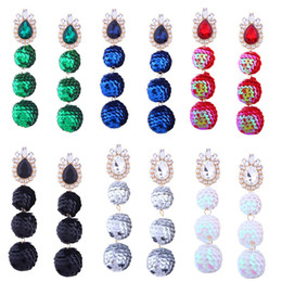 Wholesale Sequins Earrings - 6 colors Long Sequin Ball Tassel Drop Earrings Handmade Tassel Drop Dangle Earrings Exaggerated Party Earrings Casual Jewelry D475L