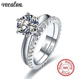 2019 gioielli diamonique Vecalon Fine Jewelry 925 Sterling Silver Anello Infinity set 5A Zircon Cz Diamonique Fedi nuziali per donna sconti gioielli diamonique