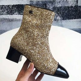Wholesale Sexy Girls Rubber Boots - 2018 Newest Luxury Brand Charming Bling Glitter Women Ankle Boots Fashion Sequined Round Toe Sexy Girl Bottom Low Heels Patent Leather Shoes