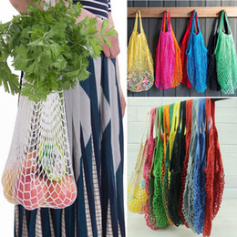 Bolsas de frutas online-Net Bag Fruit Shopping String Bolsas de supermercado Bolsas reutilizables Mesh Woven Shopper Totalizador Shopping Tote Bolso FFA216 60PCS