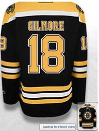 Mens Womens Kids Boston Bruins 18 Happy Gilmore Hockey Jersey черный белый вопль Джерси вышивки или трикотажные изделия на заказ для любого игрока cheap 6xl hockey jerseys от Поставщики 6xl хоккейные майки