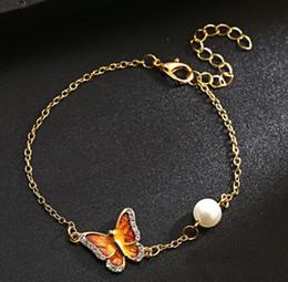 2018 Moda farfalla Pittura a olio Bracciali perla Braccialetti Bracciali Donna gioielli per il regalo di Natale Ognissanti da