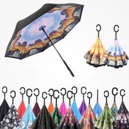 Wholesale inverted colors - Windproof Reverse Umbrella New Design 60 Colors Double Layer Inverted Umbrellas C Handle Umbrellas For Car Printable Customer Logol RE2378