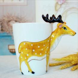 Copo de café dos desenhos animados 3d caneca on-line-Eco-Friendly 3d Animal Girafa Pintados À Mão Canecas De Café De Cerâmica Copos De Chá De Leite Bonito Dos Desenhos Animados Elefante Golfinho Pinguim Sika Cervos Copos Presente
