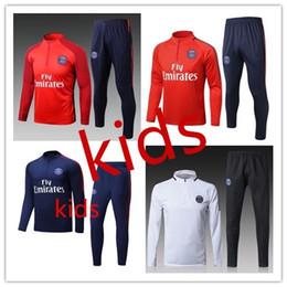 Wholesale Kids Long Jackets - 2017 18 NEYMAR KIDS JACKET TRACKSUIT TOP CHILD LONG PANT DARD BLUE soccer chandal football tracksuitS training suit skinny pants Sportsw