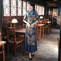Vestidos calientes sexy chino online-Venta caliente Lady Rayon Qipao Vietnam Aodai Sexy Slim Chinese Dress Mandarin Collar Cheongsam Vestidos Más Tamaño S-3XL