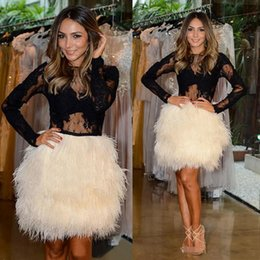 Wholesale Long Dress Ostrich Feather - Sexy Prom Dresses Little Black Long Sleeve Short Cocktail Dress Ostrich Feather 2018 Custom Made Luxury Formal Evening Dresses Party Wear