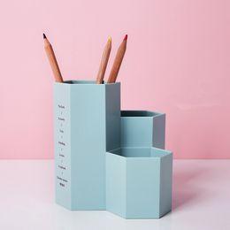Wholesale Office Desk Styles - Diamond Shape 3 Slots Pen Containers Creative Plastic Multi-Use Storage Box for Utensils Stationary Office Desk Organizer