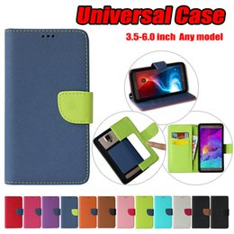 Wholesale light fittings - Universal case PU Leather Flip Wallet Belt Buckle Universal Cover Case For 3.5-6.0 inch phone cases 6 size to choose