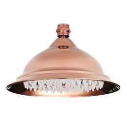 Wholesale Plastic Product Home - 8 inch Antique Vintage Red Copper Rose Gold Round Bathroom Rain Shower Head Home Bathroom Product Fixture