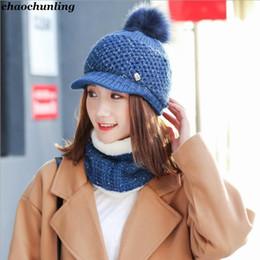 bufanda de punto azul Rebajas Señora coreana Sombreros de piel gruesa 2018  Nuevas señoras de invierno 43fd228ee6c